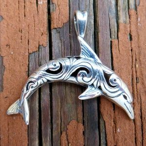 Large 925 Sterling Silver Tribal Dolphin Pendant